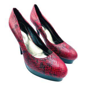 Sofia Vergara Red Snake Skin Print High Heel Pumps